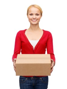 Pretty Lady Holding A Box Shipping & Returns