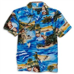 Street Rules Blue Hawaiian Print Shirt With Palm Trees