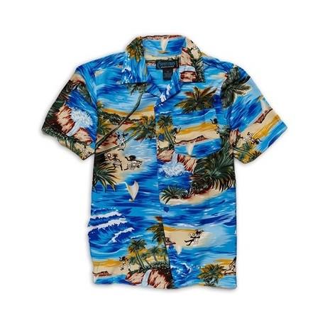 Street Rules Blue Hawaiian Print Shirt With Palm Trees