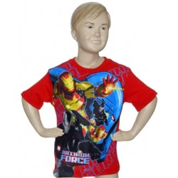 Marvel Comics Avengers Iron Man Maximum Force Red Boys Shirt