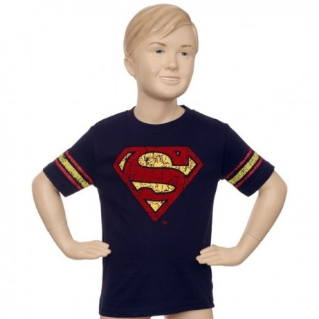 Superman Navy Blue Red & Yellow Logo T Shirt