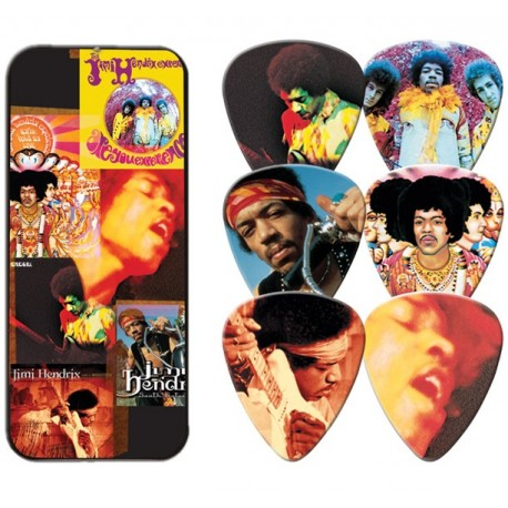 Jimi Hendrix Album Cover Tin & 6 Piece Guitar Picks