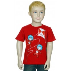 Dr Seuss Thing One & Thing Two Flying A Kite Red T Shirt