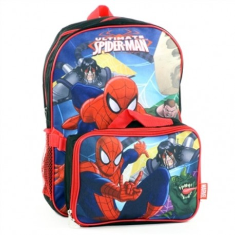 Marvel Ultimate Spider Man Zippered Backpack With Lunch Box