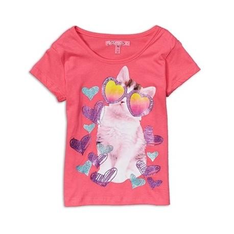 Cherrystix Hearts & Cool Cat Pink Glitter Print Fashion Top
