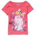 Cherrystix Hearts & Cool Cat Pink Glitter Print Fashion Top