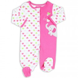 Carter's Elephant Pink and White Hearts Snap Down Footed Sleeper