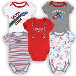 Calvin Klein Baby Boys Musical 5 Pack Creeper Set Houston Kids Fashion Clothing Store