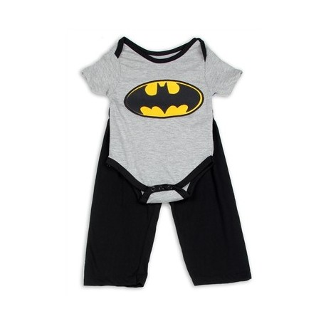 DC Comics Batman Grey Onesie With Yellow Bat Signal & Black Pants Houston Kids Fashion Clothing Store The Woodlands Texas
