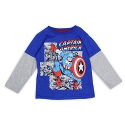 Marvel Comics Captain America Blue Long Sleeve Toddler Boys Shirt Houston Kids Fashion Clothing Store