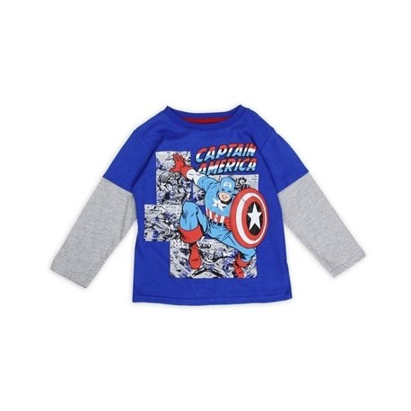 Captain America Blue Long Sleeve Shirt