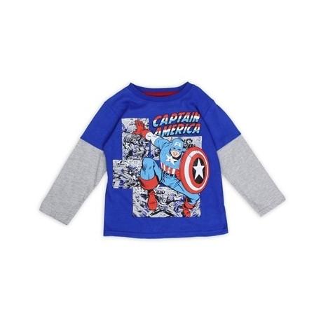 Marvel Comics Captain America Blue Long Sleeve Toddler Boys Shirt Houston Kids Fashion Clothing Store