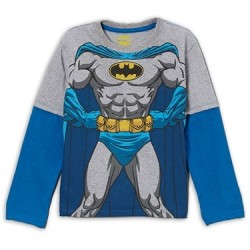 DC Comics Batman Grey and Blue Long Sleeve Shirt Houston Kids Fashion Clothing Store