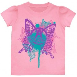 Aerosmith Pink Butterfly Puff Sleeve Toddler Shirt