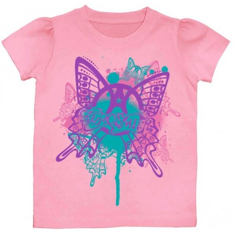 Areosmith Pink Butterfly Puff Sleeve Toddler Shirt