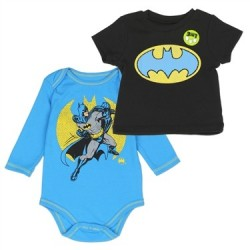 DC Comics Blue Batman Long Sleeve Creeper and Black Bat Signal Shirt