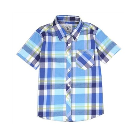 Street Rules Classic Blue Plaid Button Down Western Shirt