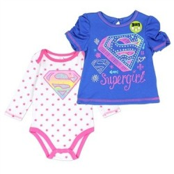 DC Comics Supergirl Infant Onesie and Shirt 3 in 1 set Houston Kids Fashion Clothing Store