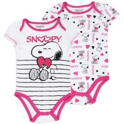 Snoopy 2 Pack Girls Creeper Set From Peanuts houston Kids Fashion Clothing Store