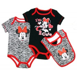 Disney Minnie Mouse Black I'm Too Cute Onsie Black & White Animal Print Onesie & Bib