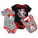 Disney Minnie Mouse Black I'm Too Cute Onsie Black & White Animal Print Onesie & Bib