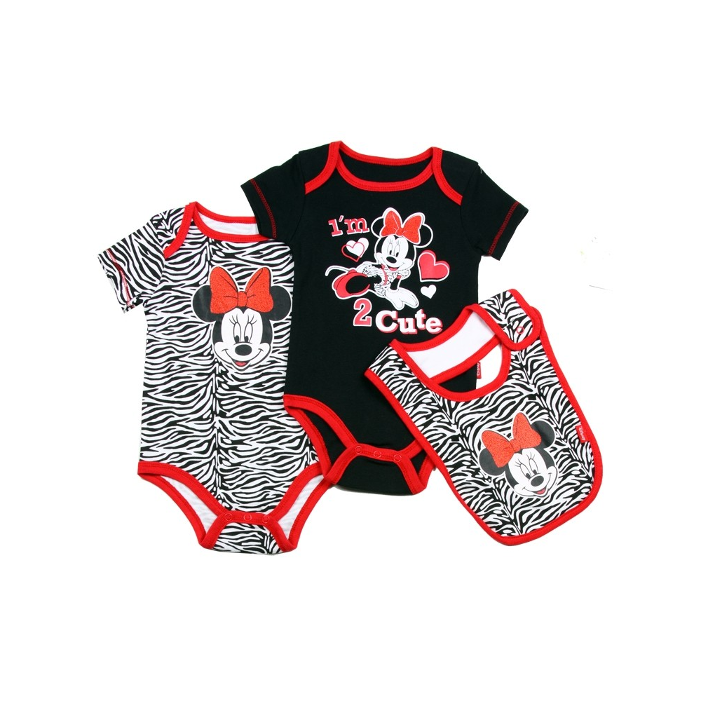 9c47ec1c5f3 Disney Minnie Mouse Black I'm Too Cute Onsie Animal Print Onesie and Bib  Houston. Loading zoom