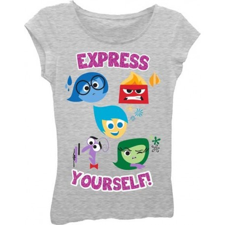 Inside Out Grey Express Yourself Short Sleeve T Shirt From Disney