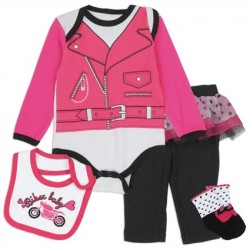 Nuby Pink Biker Lady 4 Piece Layette Set