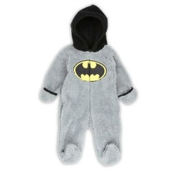 Soft and Warm Grey Velboa Fleece Footed Sleeper From DC Comics Batman