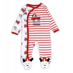 Buster Brown Daddy's Lil Fireman Red And White Snap Down Footed Sleeper