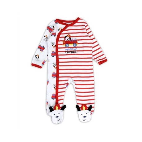 Daddy's Lil Fireman Snap Down Sleeper From Buster Brown Houston Kids Fashion Clothing