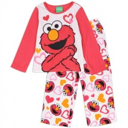 Elmo White Long Sleeve Top With White Pants Covered In Elmo And Hearts
