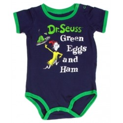 Dr Seuss The Cat In The Hat Green Eggs and Ham Navy Blue Onesie