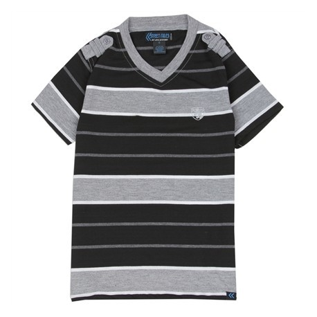 Street Rules Grey Striped V Neck Pullover Top Houston Kids Fashion Clothing Store
