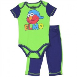 Sesame Street Green Elmo Onesie And Blue Pants Houston Kids Fashion Clothing Store