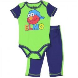 Sesame Street Green Elmo Onesie And Blue Pants