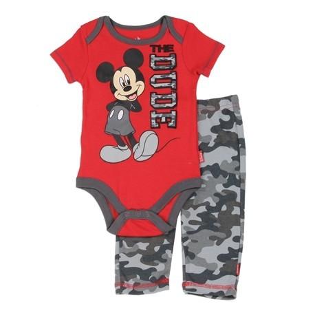 ff4b59954b79 The Dude Disney Mickey Mouse Red Onesie   Grey Camo Pants KIds Fashion