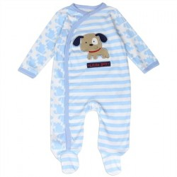Buster Brown Cute Puppy Dog Light Blue Infant Footed Sleeper
