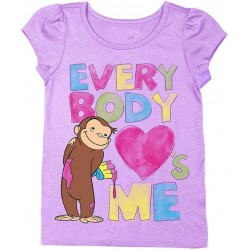 Curious George Everybody Loves Me Lilac Toddler Shirt
