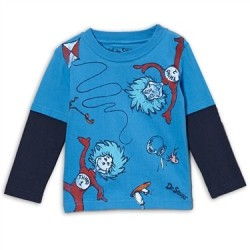 Dr Seuss The Cat In The Hat Blue Long Sleeve ShirtWith Thing 1 & Thing 2