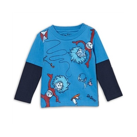 Dr Seuss The Cat In The Hat Blue Long Sleeve ShirtWith Thing 1 & Thing 2 Houston Kids Fashion Clothing