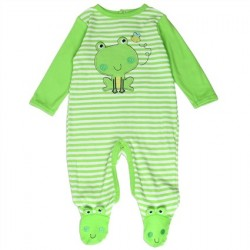 Buster Brown Embroidered Green Frog Long Sleeve Footed Sleeper