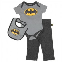 DC Comics Batman Crimefighter In Training Grey Onesie Pants And Bib Houston Kids Fashion Clothing Store The Woodlands Texas