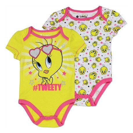 Looney Tunes Tweety Bird Baby 2 Pack Onesie Set Houston Kids Fashion Clothing Store