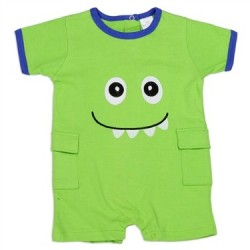 Little Beginnings Embroidered Green Monster Romper