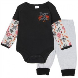 Little Beginnings Born To Rock Long Sleeve Creeper and Grey Jogging Pants Houston Kids Fashion Clothing