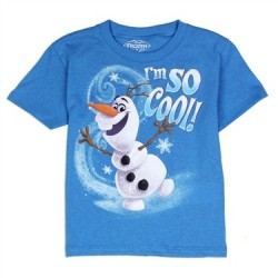 Disney Frozen Olaf I'm So Cool Blue Short Sleeve Graphic T Shirt