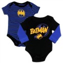 DC Comics Batman Black and Blue Striped Short Sleeve Creeper and Black and Blue Long Sleeve Creeper