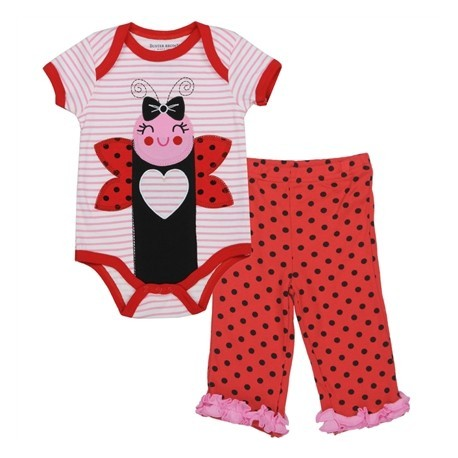 Buster Brown Pink Ladybug Onesie With Red Trim And Red Pants With Pink Ruffles And Black Poka Dots