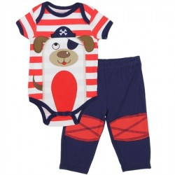 Buster Brown Red And White Stripe Onesie With A Pirate Dog And Blue Pants